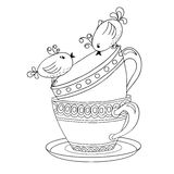 Card with tea cups and art birds Royalty Free Stock Photo
