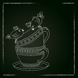 Card with tea cups and art birds Royalty Free Stock Photography