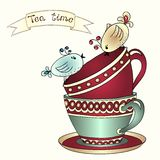 Card with tea cups and art birds Royalty Free Stock Images