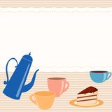 Card with tea related elements Stock Photo