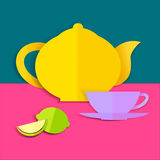 Card with teapot, cup and lemon Royalty Free Stock Photography