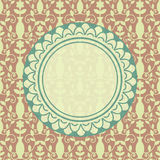 Card template. Decorative card template with seamless damask pattern stock illustration