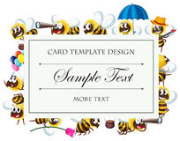 Card template with bee characters Stock Photo