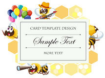 Card template with bee in different actions Stock Photo