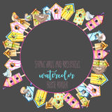 Card template, circle frame border with watercolor colorful birdhouses, cute birds and nests. Hand drawn on a dark background Stock Photography