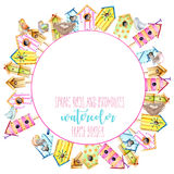 Card template, circle frame border with watercolor colorful birdhouses, cute birds and nests. Hand drawn on a white background Royalty Free Stock Image