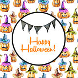 Card template, circle frame on watercolor Halloween background Royalty Free Stock Photography