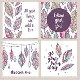 Card template collection for banners, flyers, posters with feathers in boho style. Vector card with motivational quote stock illustration