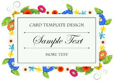 Card template with colorful flowers frame Royalty Free Stock Photo
