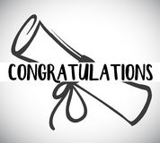 Card template with congratulations word and degree Stock Photography