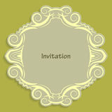 Card template for cutting out paper. A caligraphic gold pattern is made along the edge. Suitable for an invitation to a wedding or Royalty Free Stock Photo