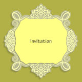 Card template for cutting out paper. A caligraphic gold pattern is made along the edge. Suitable for an invitation to a wedding or Stock Photo