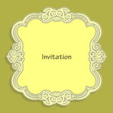 Card template for cutting out paper. A caligraphic gold pattern is made along the edge. Suitable for an invitation to a wedding or Royalty Free Stock Photography