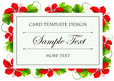 Card template design with red flowers Stock Photo