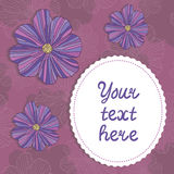 Card template with doodle flowers Royalty Free Stock Image