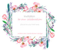 Card template with the floral design; berries, spring flowers and leaves hand-drawn in a watercolor; floral decoration for a weddi. Ng, greeting card, symbol Stock Photos