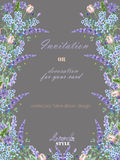 Card template with the floral design; watercolor floral elements of the lavender, cornflower, forget-me-not and eustoma flowers Royalty Free Stock Photo
