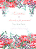 Card template with the floral design; watercolor red peonies, leaves, branches and purple berries Royalty Free Stock Photo