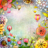 Card template with flowers. Royalty Free Stock Photography