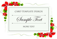 Card template with flowers and leaves Royalty Free Stock Photo