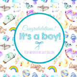 Card template, frame border on baby boy shower watercolor elements background Stock Image