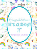 Card template, frame border on baby boy shower watercolor elements background