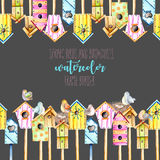 Card template, frame border with watercolor colorful birdhouses, cute birds and nests. Hand drawn on a black background Royalty Free Stock Photo