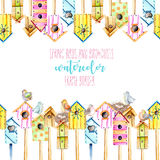 Card template, frame border with watercolor colorful birdhouses, cute birds and nests. Hand drawn on a white background Stock Image