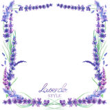 A card template, frame border with the watercolor lavender flowers, wedding invitation Stock Images