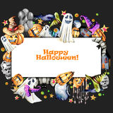 Card template, frame from watercolor Halloween objects pumpkins in old hats, spooks, skull, pot and other Royalty Free Stock Photos