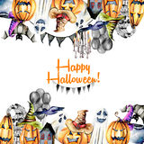 Card template, frame from watercolor Halloween objects pumpkins in old hats, spooks, skull, pot and other Stock Images