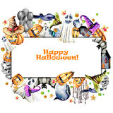 Card template, frame from watercolor Halloween objects pumpkins in old hats, spooks, skull, pot and other Royalty Free Stock Images