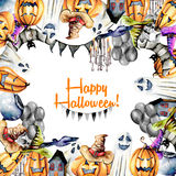 Card template, frame from watercolor Halloween objects pumpkins in old hats, spooks, skull, pot and other Stock Image