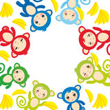 Card template, funny green blue pink orange monkey, yellow bananas, boys and girls on white background. Vector Stock Images