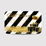 Card template with glitter and present boxes Royalty Free Stock Images