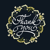 Card template with hand drawn flower border and hand written Thank You text. Vector illustration Stock Photography