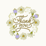 Card template with hand drawn flower border and hand written Thank You text. Vector illustration Stock Photo