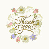 Card template with hand drawn flower border and hand written Thank You text. Vector illustration Stock Images
