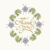 Card template with hand drawn flower border and hand written Thank You text. Vector illustration. Stock Photography