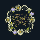 Card template with hand drawn flower border and hand written Thank You text. Vector illustration. Royalty Free Stock Photography