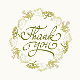 Card template with hand drawn flower border and hand written Thank You text. Vector illustration. Stock Images