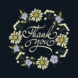 Card template with hand drawn flower border and hand written Thank You text. Vector illustration. Stock Photo