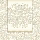 Card template. Illustration of greeting or invitation card template with abstract lacy ornament stock illustration