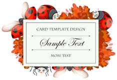 Card template with ladybugs Stock Photos