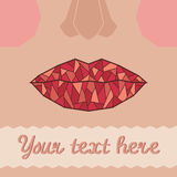Card template with lips Royalty Free Stock Photos