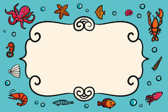 Card template. Marine theme. Blue card with lobster, shrimps snails, sea cabbage and anchor. Hand-drawn illustration on. A blue background. Sea inhabitants and Royalty Free Stock Photo