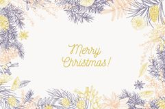 Card template with Merry Christmas inscription and frame made of conifer branches, berries, star anise, orange slices. Hand drawn with contour lines on white vector illustration