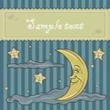Card template with moon and stars Royalty Free Stock Images