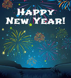 Card template for New Year with firework background. Illustration Stock Image