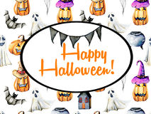 Card template, oval frame on watercolor Halloween background Royalty Free Stock Image